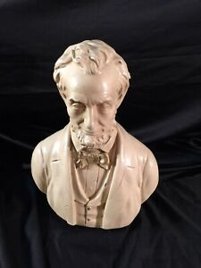 Vintage Large 13.5quot; Tall ABE LINCOLN Ceramic Bust Statue Sculpture Bank Rare $40.00
