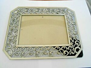 Vintage Pewter Color Metal Filigree PICTURE FRAME Mid Century Ornate for 5 X 7quot; $18.00