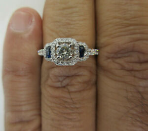 1.50 Carat 14K Gold Diamond amp; Sapphire Engagement Ring Cen=.40 G SI1 Value=$8K
