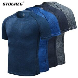 Mens Running T Shirts Quick Dry Compression Sport T Shirts Fitness Gym $13.36