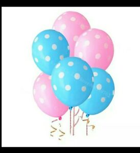 30PC 12IN PINK AND BLUE POLKA DOT BALLOONS $6.99