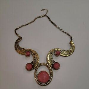 Vintage Antique gold tone glass stone Victorian style Necklace pink $19.00