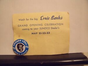 Vintage Ernie Banks 1969 Sunoco Baseball Pin Button With Original Card 1quot; Round