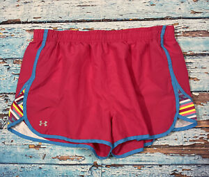 Womens UNDER ARMOUR Shorts Large Running Semi Fitted Pink $19.99
