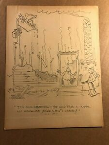 Rare Original Signed Published Newspaper Comic Art Drawing WWII Bombed House $64.99