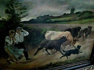 ANTIQUE HUNTING PAINTING COW PAINTING WITH DOG FARM SCENE PAINTING