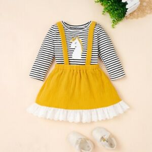 Baby Girls Lace Strap Dress Striped Tops Blouse Skirts Crew Neck Toddler Child $14.59