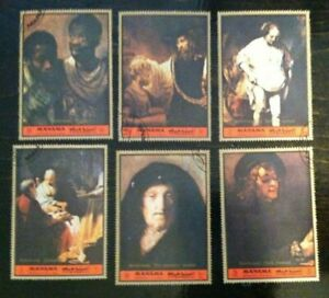 1972 Manama Postage Stamps Rembrandt Paintings Set of 6 VGC Used $8.40