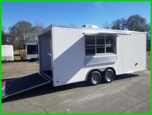 8.5 x 20 enclosed cargo motorcycle concession trailer 3x6 window finished w AC