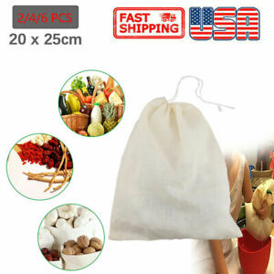 2 4 6 Pcs Organic Cotton Nut Bag Reusable Food Strainer Brew Coffee Cheese Cloth $5.99