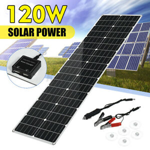 120W Flexible Solar Panel Mono Module Charger Battery Camping Boat RV Car Home