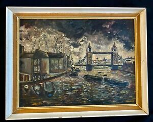 ANTIQUE EXPRESSIONISM OIL PAINTING #x27;LAMDOM AT DAWN#x27; CREATED BY T. LANGLEY 1930TH $125.00