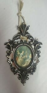 Antique Italy Carved Wood Rococo Ornate Silver Tone Victorian Frame $79.00