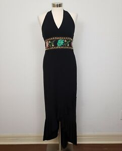 Damp;G Designer Long Full Length Black Halter Cocktail Sequin Floral Beaded Dress