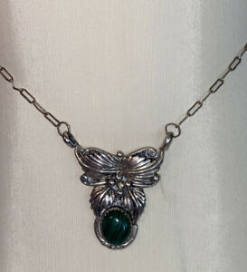 Navajo Signed Bobby Johnson B J Sterling Silver Feather And Turquoise Necklace $35.00