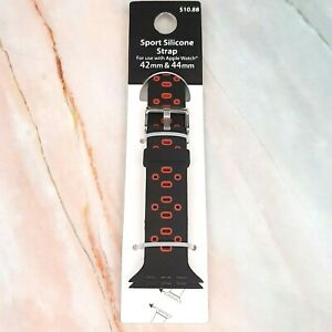 Apple Watch Sport Silicone Strap Band Black Red 42mm 44mm Classic Watch 1234 $9.39
