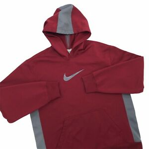 Nike Fit Therma Pullover Hoodie Sweatshirt Mens Size Large Wine Maroon Gray $16.00