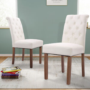 Set of 2 Button Tufted Upholstered Dining Parsons Chairs Furniture Armless Chair $109.19