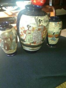 Old Antique Set of 4 Satsuma Pottery Made during the Late Meiji Period
