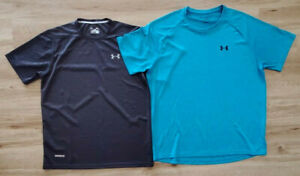 Under Armour Mens Shirts Size 2XL Loose Heat Gear Lot of 2 Gray Blue $33.24
