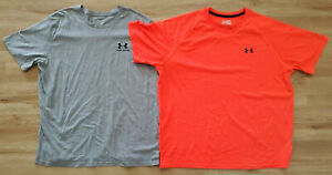 Under Armour Mens Shirts Size 2XL Loose Heat Gear Lot of 2 Gray Orange $33.24