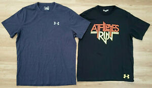 Under Armour Mens Shirts Size Large Loose Heat Gear Lot of 2 Blue Black $28.49