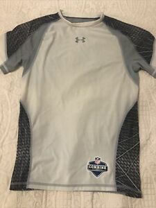 Under Armour Heat Gear White amp; Grey Compression Short Sleeve Shirt Mens Sz XL $12.00