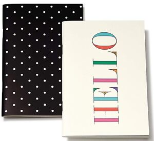 Kate Spade Rainbow HELLO and Deco Dots Notepad Notebook Paper Pads Set of 2