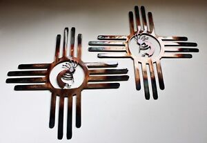 Southwestern Zia with Kokopelli Pair Left amp; Right Metal Wall Art Decor 14 quot; $56.57