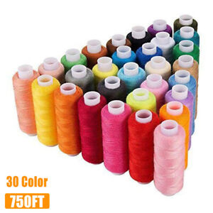 30 Color 250 Yards Polyester Sewing Thread Spools For Sewing Machine Line Cotton $13.34