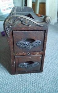 Antique Sewing Machine Cabinet Drawers Pair Wood Set 2 Ornate $119.99