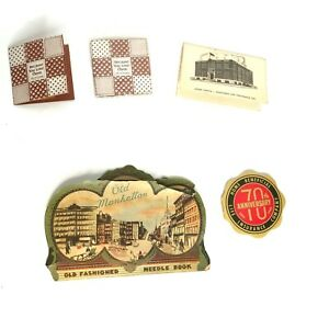 Vintage Miniature 5 Pieces Travel Sewing Kits Old Insurance Advertisements $12.95