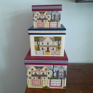 The Quilt Shoppe Set of 3 Square Nesting Sewing Boxes $35.95