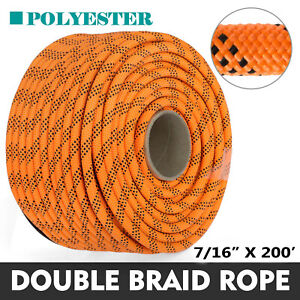 200#x27; Double Braid Polyester Rope Rigging Rope 7 16quot; 8400lbs Breaking Strength
