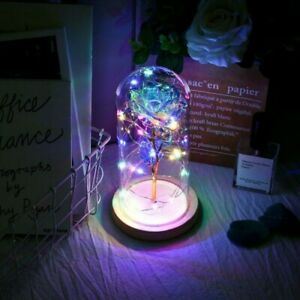 Galaxy Rose LED Light Flower Glass Dome Any Occasion Girlfriend Wife Gift $18.99