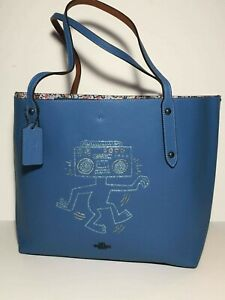 NWT Sky Blue 28644 Coach X Keith Haring Boombox Monster Market Tote