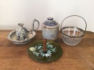 Handcrafted Pottery Jewelry Vintage Holder Handle Remis France Glass Basket Lot $28.50