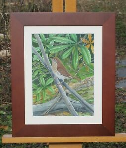 Carl Spike Knuth Signed Gouache Painting of Bird on Branch. $350.00