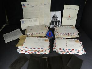 50 WWII Letter Lot 3 Army Battle Stars Camp Wheeler GA Ord CA Poughkeepsie B2451