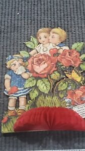 VINTAGE ANTIQUE STAND UP EMBOSSED HONEYCOMB CHILDREN VALENTINE DAY CARD GERMANY $12.95