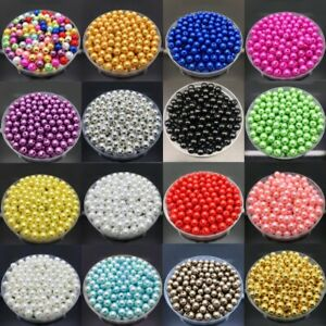 4 6 8 10mm Beads Acrylic Round Spacer Pearl Loose Crafts Jewelry Making DIY $1.39