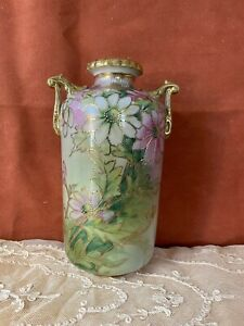 Vtg Antique Nippon Shape Vase Hand Painted Flowers w Gold Moriage Accent