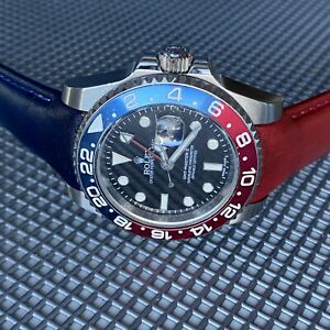20mm BLUE amp; RED GMT Calfskin leather curved fitted Band Strap Rolex Sub Case $79.99