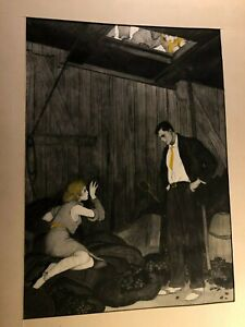 Rare Original Antique Signed Illustration Art Painting Woman Coal Man Towering $389.99