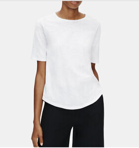 Eileen Fisher System Cotton Elbow Sleeve T Shirt Tee Top White size L $49.99