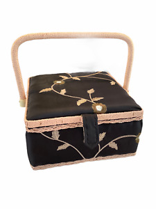 Sewing Storage Box Case Hinged Lid Black Green Floral Bamboo Handle Trim 9x9x5 $23.75