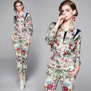 Spring Summer Fall 2pcs Women Sets Floral Printed Jacket Coat Pant Suits Outfits