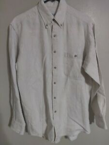 Vtg Brooks Brothers Sport Shirt All Linen Ivory L S Button Down Shirt Mens S $24.99