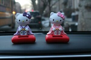 Cute solar shaking head pink Japanese kimono Hello Kitty Figure Car Home Decor