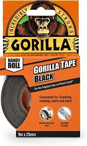 Gorilla Duct Tape To Go 1 x 30 ft Black Double Thick Adhesive $3.98